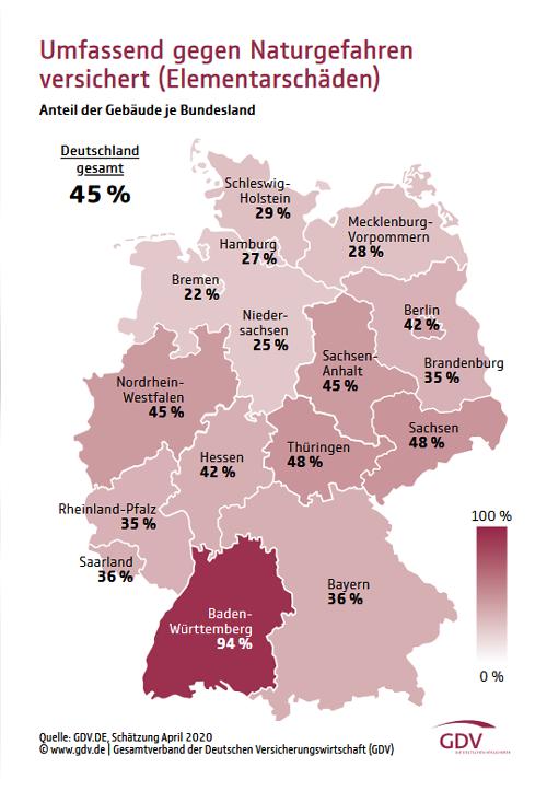"""Deutschlandkarte """"Umfassend gegen Naturgefahren versichert"""""""