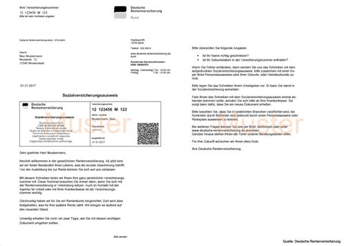 Muster Sozialversicherungsausweis